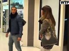 Gorgeous Marya is given money to give hot dark knight at lusty blowjob at the public toilet