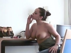 Liza del Sierra was just sitting there topless and smoking when her boyfriend came back, she thought it would be nice to have some soft and classical fuck once in a while on her white bed.