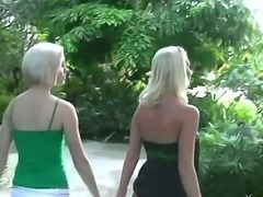 Hot blondie Madison Mason and Molly Cavalli are kissing each other wildly at the park