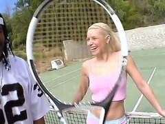 Silly blondie will suck the dick of her black guy after a tennis play where she failed