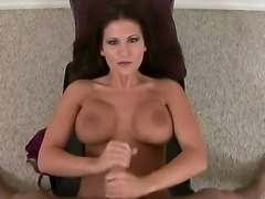 Attractive cock loving arousing brunette milf Austin Kincaid with juicy ass and massive fake hooters takes on stiff meaty sausage and does amazing handjob in point of view.
