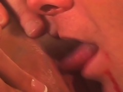 Turned on cock hungry brunette babe Tiffany Rayne with juicy hooters and arousing ass in high heels gives head to her boyfriend and rides on his meaty knob in living room.