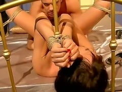 Marvelous bitch Selina has a lot of fetishes like having her self tied up and closing her eyes with a path and being fucked in the mouth with a big cock, she also likes her pussy be eaten.