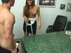 Office sex with beautiful well-tanned hottie with silky skin Madelyn Marie would definitely make you impressed. Dude is enjoying from the view of her delights before banging gal.
