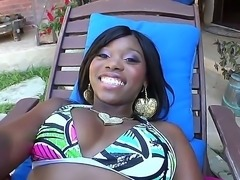 Hot black princess Ebony Star performs a really nice blowjob