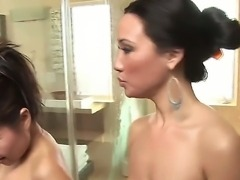 Two gorgeous and attractive Asian brunette pornstars Jackie Lin and Miko Sinz wash in the shower