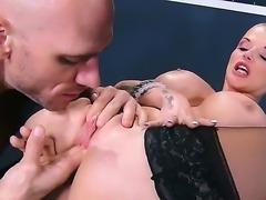 Nasty bald girl Joslyn James laying