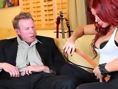 The attractive redhead pornstar Brooklyn Lee with a big tits seduces the Mark Wood