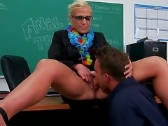 Horny teacher Amber Irons enjoys having hunk Scott Stone to pound her mature pussy hard