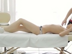 Chestnut girl Jane is a frequent guest of this masseur boy. But today he gives freedom to his hands and dick. He touches her perky tits and thrusts penis in her face.