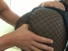 Sexy Bambi Prescott in fishnet stockings is driving Christian XXX crazy with her hungry blowjob