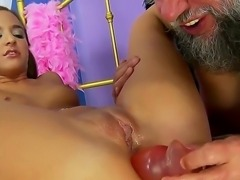 Young babe Amirah Adara is relaxing with old fart before the camera. She stands in different positions getting her tight anal hole fingered and dildoed by the male.