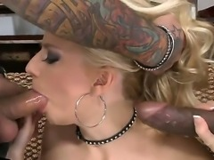 Blonde Jessie Volt with sexy intimate haircut got black and white pleasure