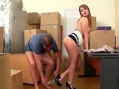 Start relaxing here, in a company of Hanna Montada and her boyfriend. Stare at the redhead chick with gorgeous body taking penis in mouth and then getting it in twat.