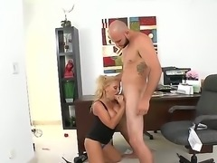 Horny tattooed Jmac seduces her blonde boss Charity McLain and licks her wet...
