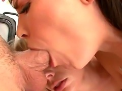 Young looking horny blonde and black haired sluts Adrianna Nicole and Dana DeArmond with hot bodies and big natural hooters get their pretty faces fucked rough in close up.