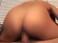 Attractive slender black haired babe Cassidey with big natural boobs and long sexy legs in high heels only gets her trimmed twat licked and drilled deep by young horny blonde stud.