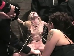 Group of BDSM fuck lover guys tied up one cute blonde chick Sarah Jane Ceylon and forcing her to suck their cocks and to be humiliated by them.