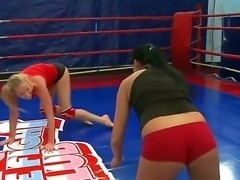 Lesbian wrestling with Dorina Gold and Melissa Ria would make you aroused. These hotties are staying half naked before starting to wrestle well on a boxing ring.