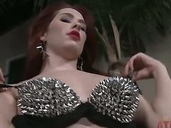 Tall redhead with sexy long legs Melody Jordan strips near sexy chopper