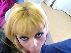 Young petite cheap looking blonde Jakeline Teen with heavy make up sucks cock outdoor in point of view