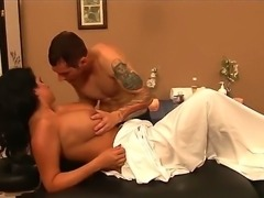 Lacie James comes to Joey Brass to get massage and then he licks her shaved pussy