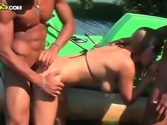 Amateur sexy whore Alika sucks and fucks with a two attractive guys with an athletic body