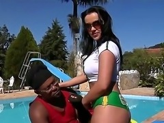Black strong big cocked dude Jbrown oiling up tight Tati Schnaiders ass and exciting her to stuff her cunt and mouth with his nasty boner!