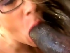 Hugecocked ebony gangsta seduces this nasty spectacled white milf Sunny Day to have unforgettable interracial banging. See her giving deep throat and performs rodeo on dong.