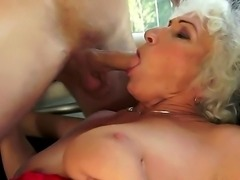 Norma is experienced and naughty mature woman. She has blonde hair and extremely hairy pussy. Norma enjoys to feel young flesh in her mature pussy and sucking mouth.
