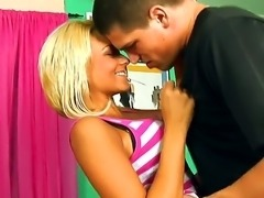Blonde Briana Blair meets this boyfriend at the sport ground and invites him to visit her home