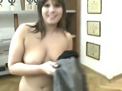 A young chubby babe likes to take huge cocks into mouth and lick balls front of the camera