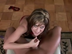 Busty brunette chick Tyla Wynn pulled up her bra got down on the floor at front of her boyfriend and giving him a great hand job with tit rubbing!