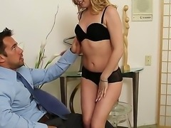 Johnny Castle gets seduced by the office by horny secretary Lexi Belle into having sex with her