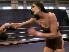 Gorgeous brunette boxing babes have a sensational fight as they play with sensitive parts