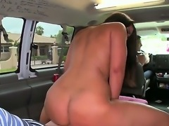 Attractive sexy beauty Luna Star with big juicy hooters and heavy make up gets naked in bang bus and fucks like pro with handsome blonde dude with stiff cannon.