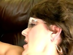 Mature slut Gigi M enjoys having her hairy cunt drilled by younger guy with large penis