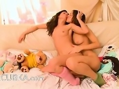 charming lesbo teens from Russia kissing
