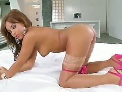 Tempting young brunette ebony Kayla with natural boobs and round jaw dropping bums in stockings takes off pink thong while teasing and polishes her trimmed cunny in memorable solo action.