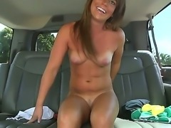 Slutty beauty Megan Mathews enjoys hard sex in the bang bus along horny guy
