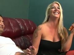 Horny stud Hagi likes having mature mom Joclyn Stone sucking and fucking his cock