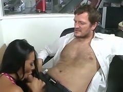 Brunette busty brunette Sandra likes it when she sucks a massive dick before getting pounded hard