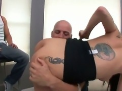 Depraved brunette whore Sea J Raw getting fucked by Austin Denikk and Derrick Pierce,
