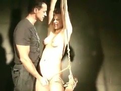 Skinny girl Chicky Clarissa was bondaged by her new boyfriend and fucked in the dark room