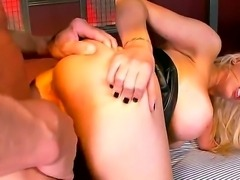 Submissive blondie Candy gets on her kness for a sweet doggy penetration after a nice blowie
