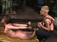 Short haired cougar Sinead plays hardcore games with bondaged girlfriend Rebecca Contreras
