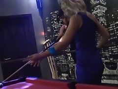 Young tight ass babes Demi, Joana, Kamali and Malika with great seductive skils and natural boobs in tight dresses have fun at billiard table and enjoy having spontaneous group sex.