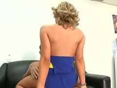 Strong young guy is sitting on couch naked with erected huge dick and having his blonde girlfriend Ashley Coda riding his boner.