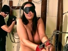 Chained up Margarita gets her big tits clamped and hot butt spanked for being such a cocky bitch