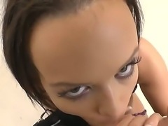 Black haired slut Linet Slag with long sexy nails and huge juicy gazongas in stockings and undies teases famous Rocco Siffredi and suck his balls in point of view.